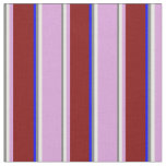 [ Thumbnail: Gray, White, Plum, Maroon & Blue Colored Stripes Fabric ]