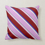[ Thumbnail: Gray, White, Plum, Maroon & Blue Colored Stripes Throw Pillow ]
