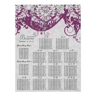 Gray White & Plum Seating Chart Alphabetical Poster