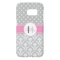 Gray White Polka Dots Damask Pink Monogram Samsung Galaxy S7 Case