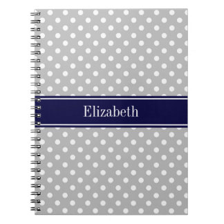 Gray White Polka Dots Navy Blue Name Monogram Spiral Note Book