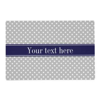 Gray White Polka Dots Navy Blue Name Monogram Placemat