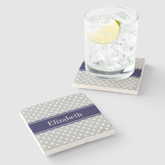 Gray White Polka Dots Navy Blue Name Monogram Stone Coaster