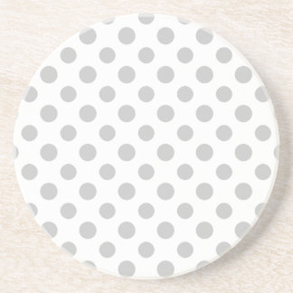 Gray White Polka Dots Pattern Drink Coaster