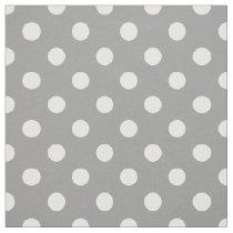 Gray white polka dots pattern fabric