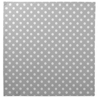 Gray White Polka Dots Pattern Napkin
