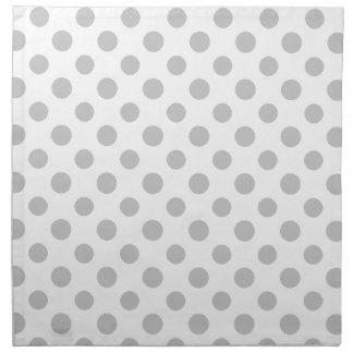Gray White Polka Dots Pattern Cloth Napkin