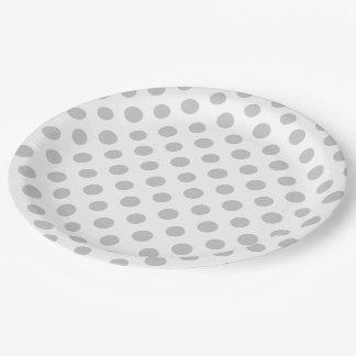 Gray White Polka Dots Pattern 9 Inch Paper Plate