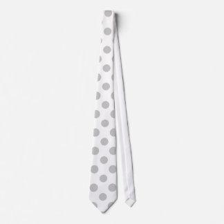 Gray White Polka Dots Pattern Tie