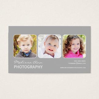 Gray White Portrait Photographer Business Card