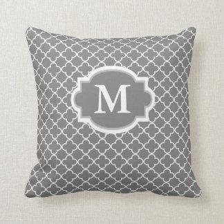 Gray White Quatrefoil Monogram Pillow