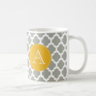 Gray & White Quatrefoil Mustard Yellow Monogram Mugs