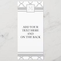Gray White Quatrefoil | Your Monogram