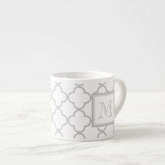 Gray White Quatrefoil | Your Monogram Espresso Cup