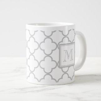 Gray White Quatrefoil   Your Monogram Large Coffee Mug