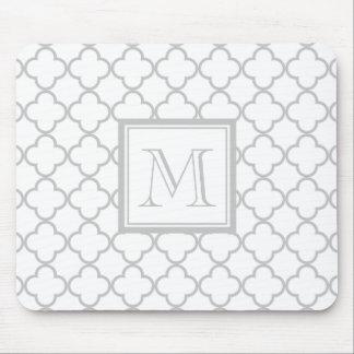 Gray White Quatrefoil | Your Monogram Mouse Pad