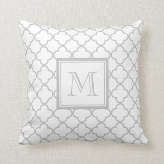 Gray White Quatrefoil   Your Monogram Throw Pillow