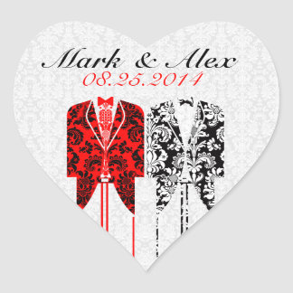 Gray White & Red Same-Sex Couples Wedding Design Heart Sticker