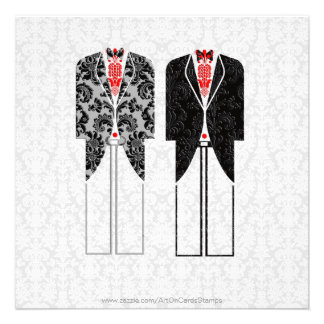 Gray White Red Same-Sex Couples Wedding Invite Custom Invitations