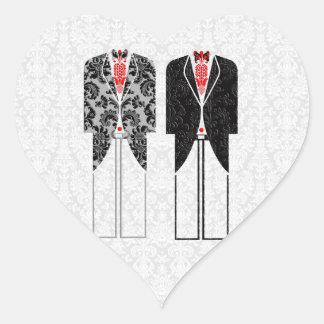 Gray White & Red Same-Sex Couples Wedding Invite Heart Sticker