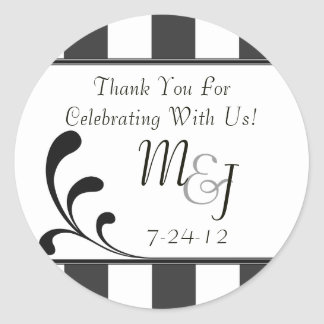 Gray & White Round Striped Wedding Favor Labels