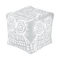 Gray White Rustic Owl Vintage Modern Pattern Pouf