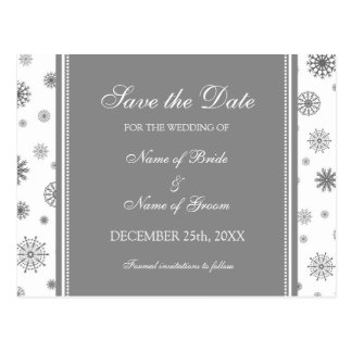 Gray White Save the Date Winter Wedding Postcard