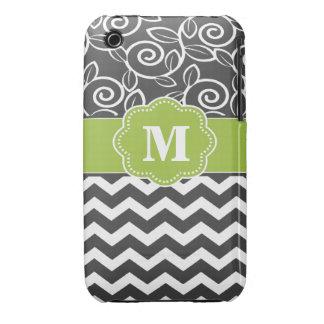 Gray White Scroll Chevron Green Monogram iPhone 3 Cases