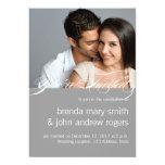 Gray White Simple Modern Photo Wedding Invitation