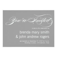 Gray White Simple Script Modern Wedding Invitatioa Card