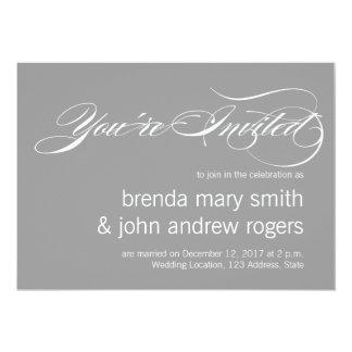 Gray White Simple Script Modern Wedding Invitatioa Card