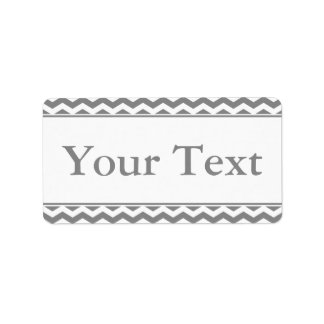 Gray & White Sticker or Label w/ Custom Text Address Label