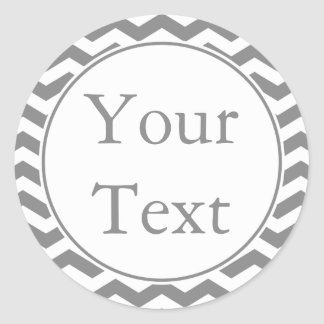 Gray & White Stickers or Labels w/ Custom Text Round Stickers