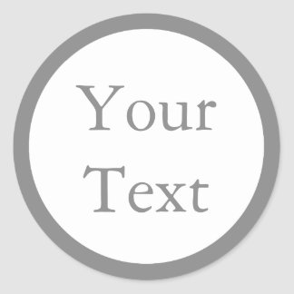 Gray & White Stickers or Labels w/ Custom Text