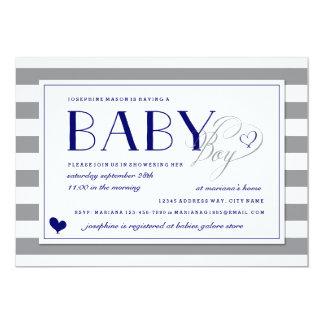 Gray & White Stripe Baby Boy Navy Blue Invitations