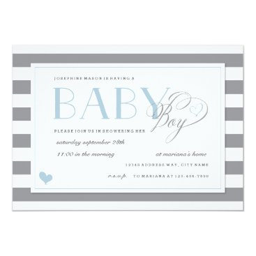 Toddler & Baby themed Gray & White Stripe Baby Boy Shower Blue Accents Card