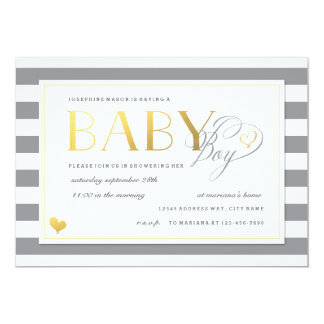 Gray & White Stripe Baby Boy Shower Gold Accents Card
