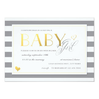 Gray & White Stripe Baby Girl Shower Gold Accents Card