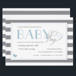"Gray &amp; White Stripe Light Blue Boys Baby Shower Invitation<br><div class=""desc"">Cute and hip baby shower invitation with gray and white stripes with blue accents.   Bring a book matching enclosure card https://www.zazzle.com/z/3cs0c</div>"