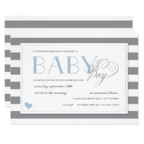 Gray & White Stripe Light Blue Boys Baby Shower Invitation