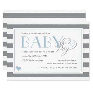 Gray & White Stripe Light Blue Boys Baby Shower Invitation