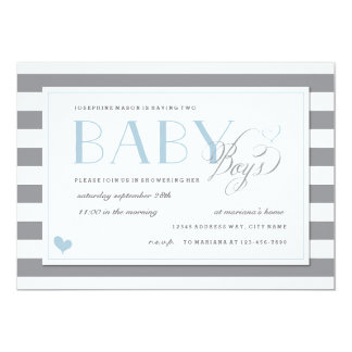 Gray & White Stripe Twins Baby Boy Shower Blue Card