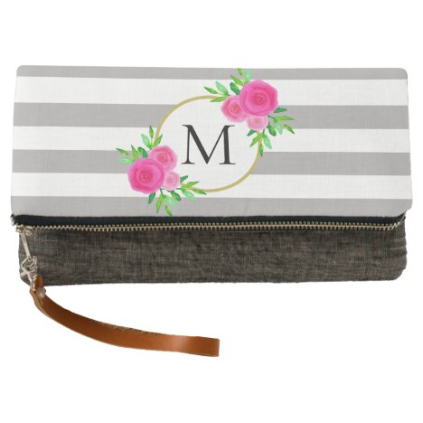 Gray White Striped Chic Hot Pink Floral Monogram Clutch