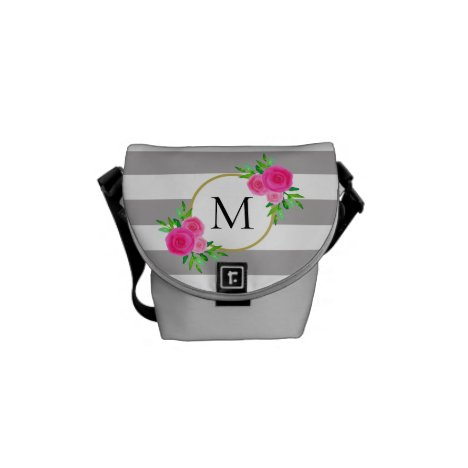 Gray White Striped Chic Pink Floral Monogram Mini Courier Bag