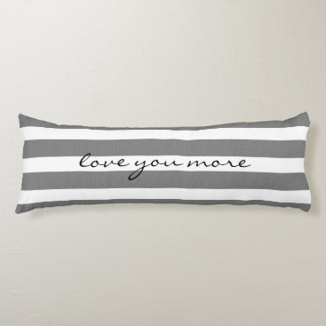 Gray & White Striped Custom Body Pillow