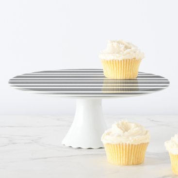Beach Themed Gray & White Striped Custom Cake Stand