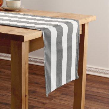 Beach Themed Gray & White Striped Custom Monogram Table Runner