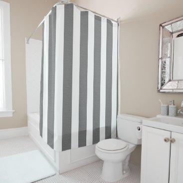 Beach Themed Gray & White Striped Custom Shower Shower Curtain