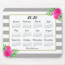 Gray White Striped Floral Monogram 2020 Calendar Mouse Pad