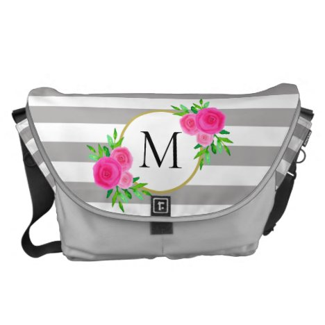 Gray White Striped Hot Pink Floral Monogram Large Courier Bag